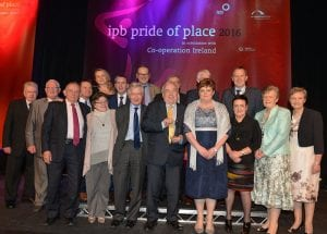 Pictured at the Pride of Place Awards ceremony are representatives from Richmount Rural Community Association, Co Armagh along with Dr Christopher Moran, Chairman Co-operation Ireland, Tom Dowling, Chairman of the Pride of Place Committee and George Jones, Chairman IPB