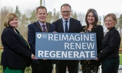"""Pictured at the launch of the inaugural """"Sharing Our Potential"""" regeneration conference are (l-r) Olga Murtagh, Strategic Director: Place, Deputy Lord Mayor Councillor Paul Greenfield, Roger Wilson, Chief Executive, Sarah Travers, Broadcaster, Presenter and Business Coach, Therese Rafferty Head of Department: Regeneration"""