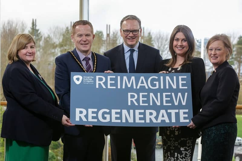 "Pictured at the launch of the inaugural ""Sharing Our Potential"" regeneration conference are (l-r) Olga Murtagh, Strategic Director: Place, Deputy Lord Mayor Councillor Paul Greenfield, Roger Wilson, Chief Executive, Sarah Travers, Broadcaster, Presenter and Business Coach, Therese Rafferty Head of Department: Regeneration"