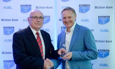 25 May 2017; Ken Redpath, City of Armagh RFC, is presented with the award for Ulster Bank Public Relations Officer of the Year by Ireland rugby head coach Joe Schmidt during the Ulster Bank League Awards at the Aviva Stadium in Dublin. Photo by Cody Glenn/Sportsfile *** NO REPRODUCTION FEE ***