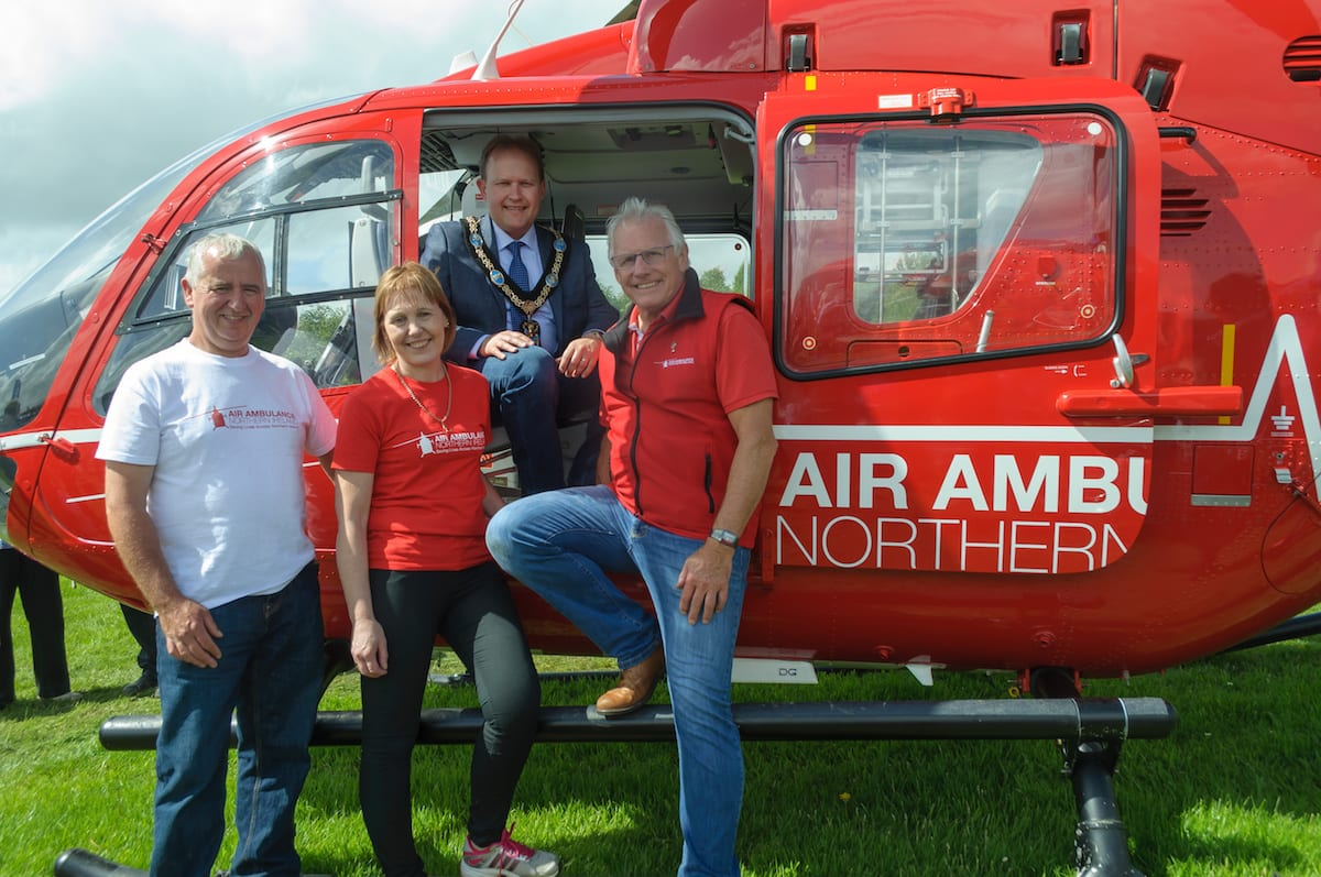 (Left to right) James McCarragher, Liz McCarragher, Lord Mayor of Armagh City, Banbridge and Craigavon, Alderman Gareth Wilson and Ian Crowe