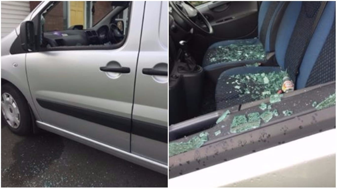 Van smashed on Cathedral Road Armagh