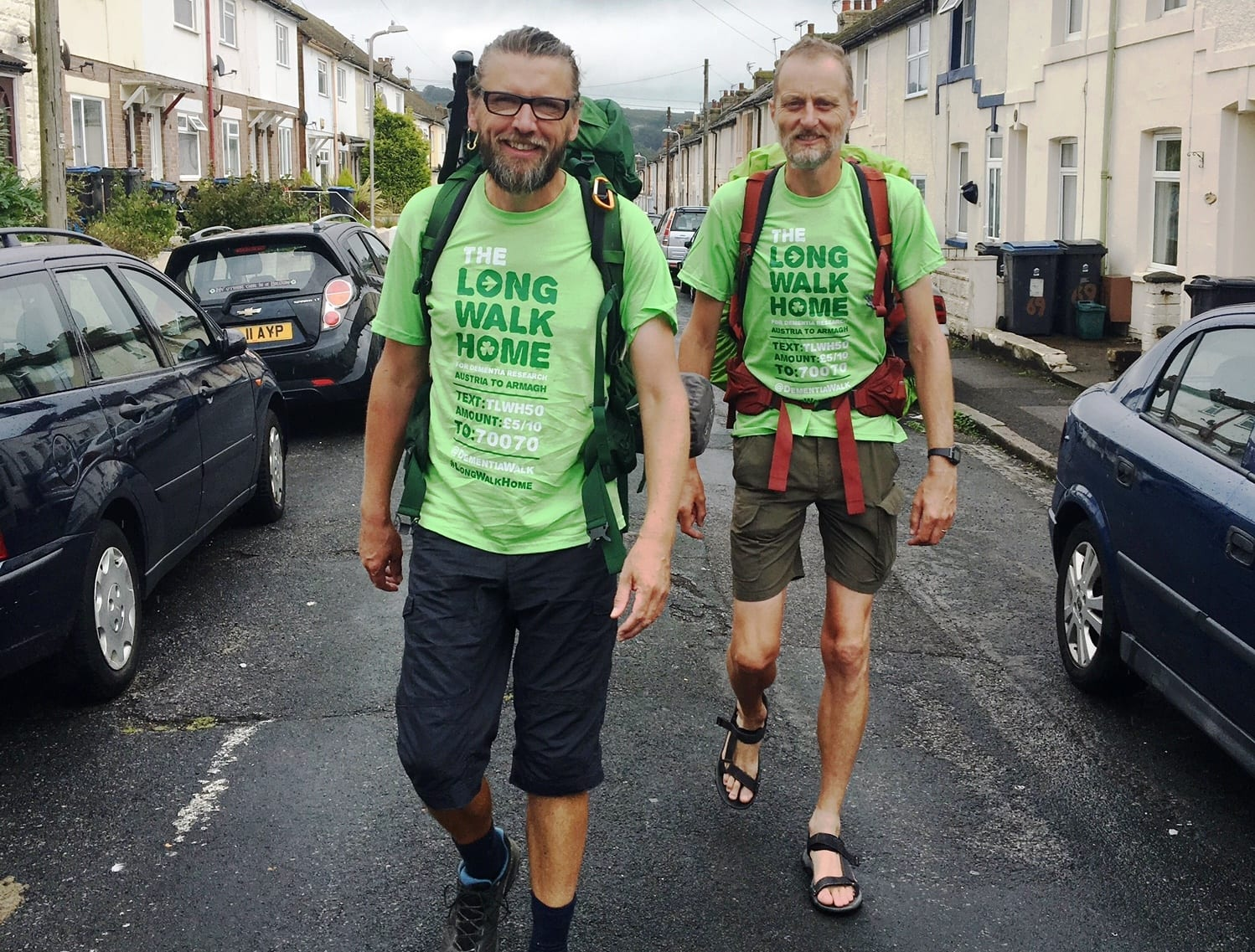 Leaving Dover for the GB leg of 'The Long Walk Home' for dementia research - 2,500km trek from Austria to Armagh. Eamonn Donnelly and Sepp Tieber-Kessler