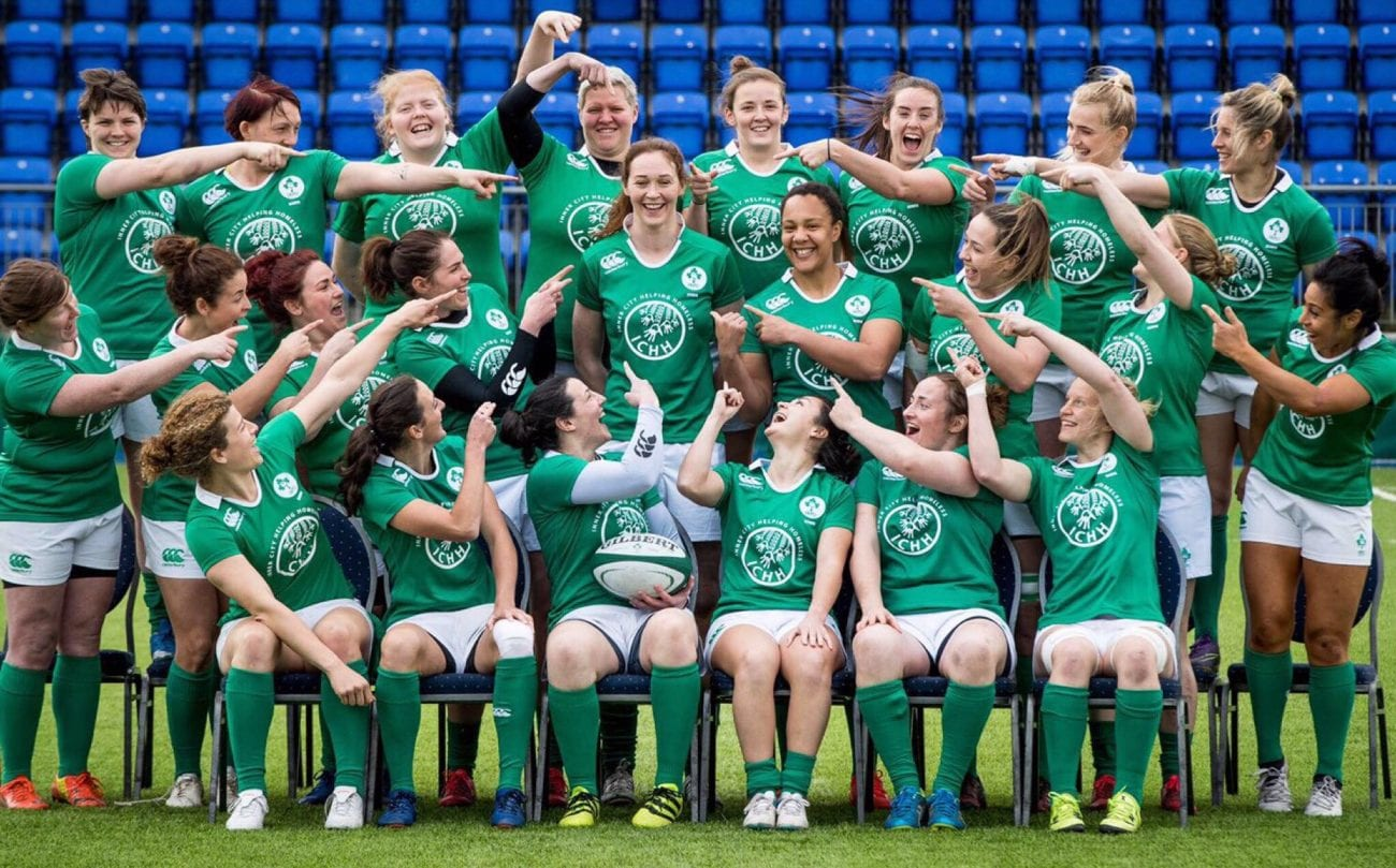 the Ireland squad marking popular lock Maz Reilly's 50th cap the day before the Grand Slam showdown with England back in March of this year