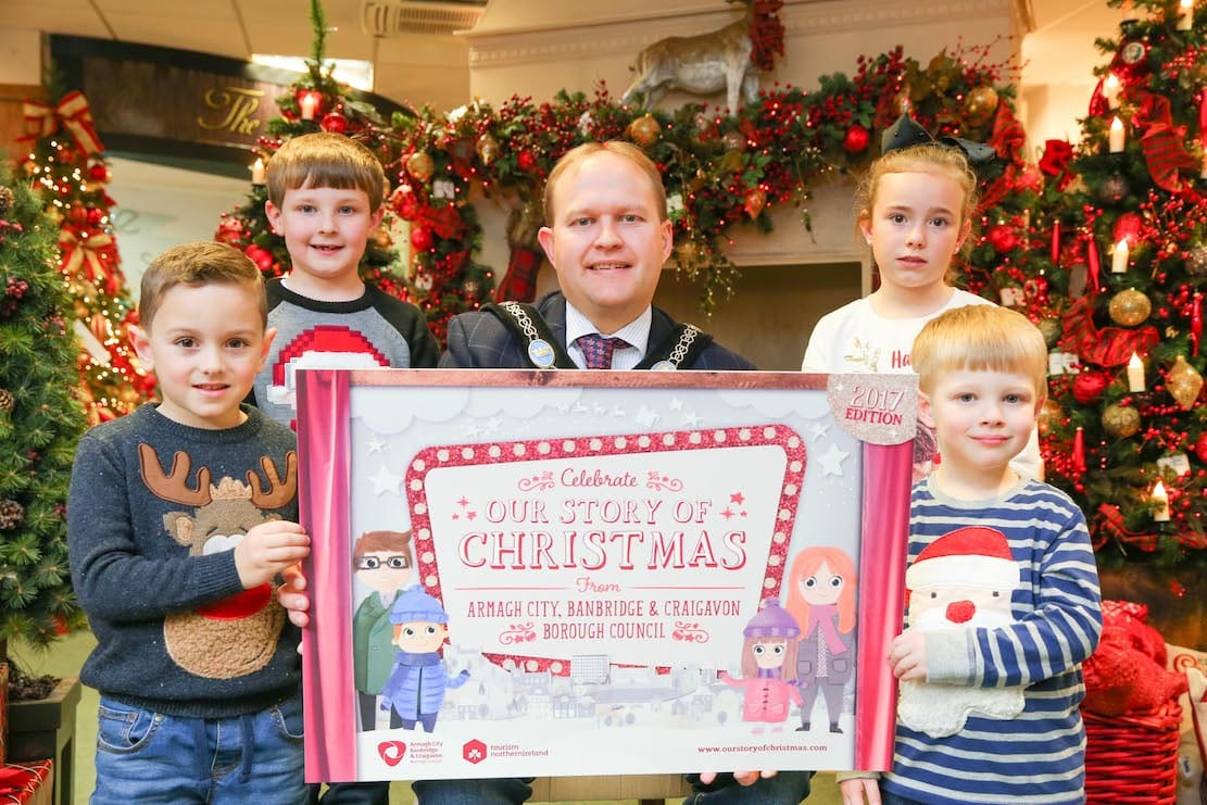 Lord Mayor Alderman Gareth Wilson is pictured at the launch of 'Our Story of Christmas' campaign with his band of little helpers which include his two sons. From left are Jake Garvey, Lewis Wilson, Tara Brennan and Micah Wilson.