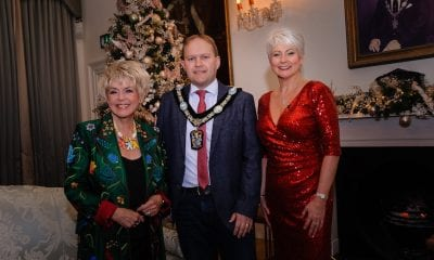 Lord Mayor of Armagh, Banbridge and Craigavon Gareth Wilson welcomes Gloria Hunniford and Pamela Ballentine to The Palace Armagh Co.Armagh