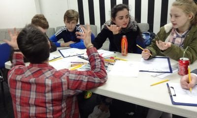 Newry & Mourne Enterprise Agency, young people exploring comic art