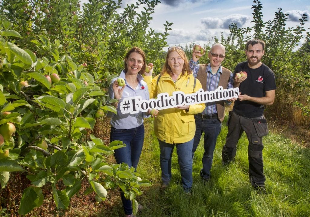 ARMAGH FOODIE HEAVEN: Top judges from the Restaurant Association of Ireland (RAI) arrived in the Orchard County this week, undertaking an intensive tour and inspection of Armagh's thriving food, drink and hospitality sector. Armagh, a key centre in Northern Ireland's official Food Heartland, has already been nominated by the 2,500-member restaurant body as one of the Top 10 Foodie Destinations on the island and is now competing to take the number one spot. RAI judges Wendy Kavanagh and Zack Gallagher, who run Irish Food Tours, join Kelly Crawford and Mark Troughton from Armagh Cider Company in the county's famous orchard countryside as part of the competition.