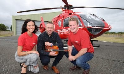 YFCU president James Speers, Ritchie Remo and Kerry Anderson from Air Ambulance. Picture: Cliff Donaldson