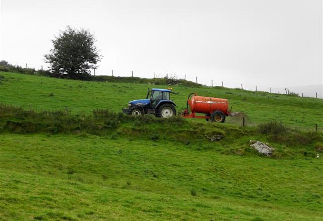Tractor slurry spreading in northern Ireland