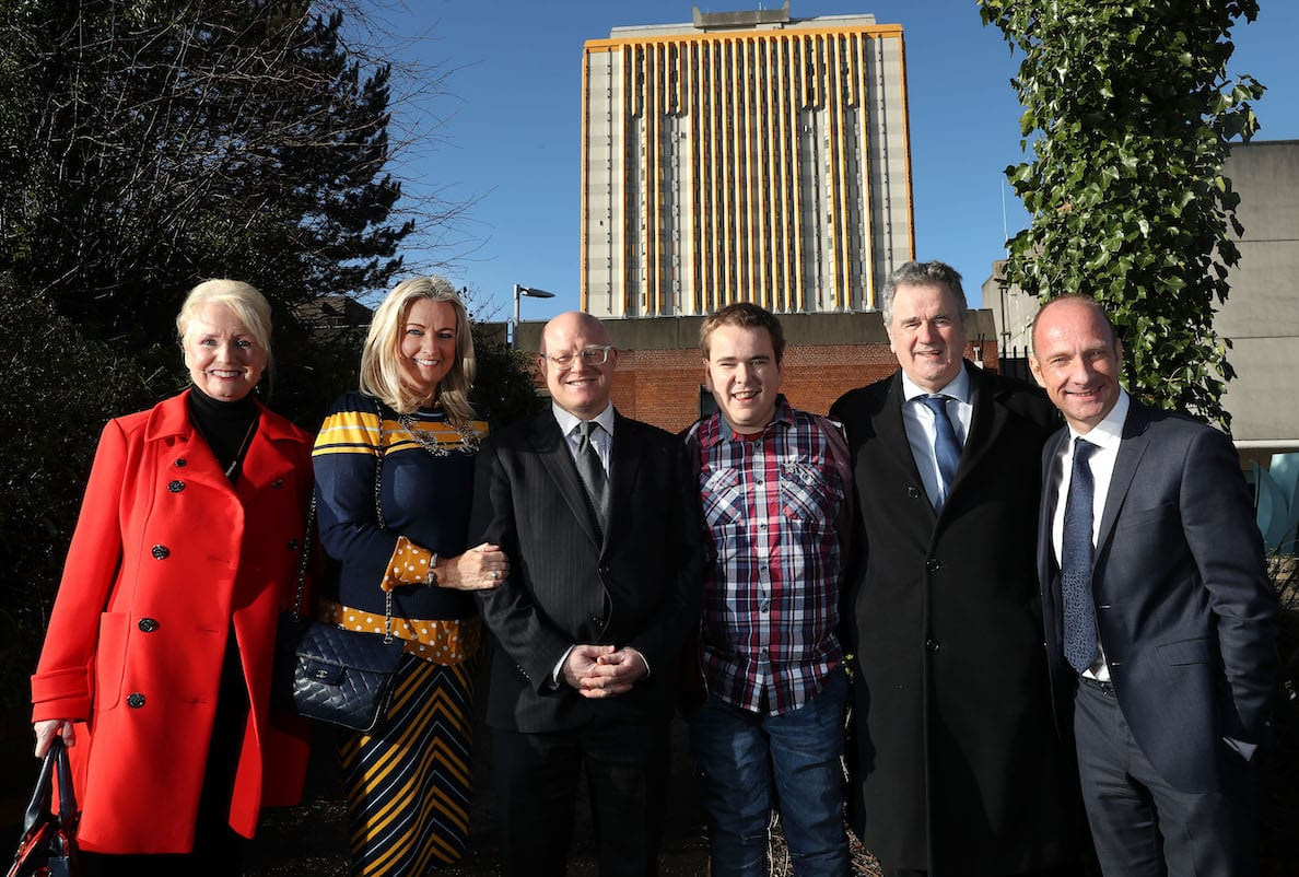 Attending the preview of BBC One True North documentary 'Life on the List' were from left to right Joan Elliott, Jo-Anne Dobson, Consultant Surgeon Mr Tim Brown, Mark Dobson, Eric Elliott and Stephen Watson
