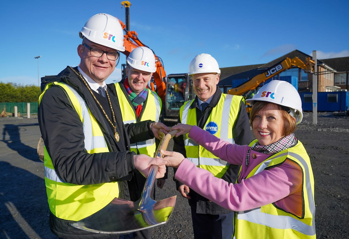 BREAKING NEW GROUND: Building work on Southern Regional College's new £15 million educational campus in Banbridge started in earnest this week after preparatory works on the Castlewellan Road site were completed on schedule to allow full construction to begin. The new purpose-built campus, which forms part of a £95 million investment by SRC and the Department for the Economy to create three new state-of-the-art educational campuses across the Armagh City, Banbridge and Craigavon area, will open next year. Pictured with Beverley Harrison, director of further education at the Department of the Economy are (l-r) Deputy Lord Mayor of Armagh City, Banbridge and Craigavon Cllr Paul Duffy, Brian Doran, chief executive of Southern Regional College and O'Hare & McGovern managing director Martin Lennon.