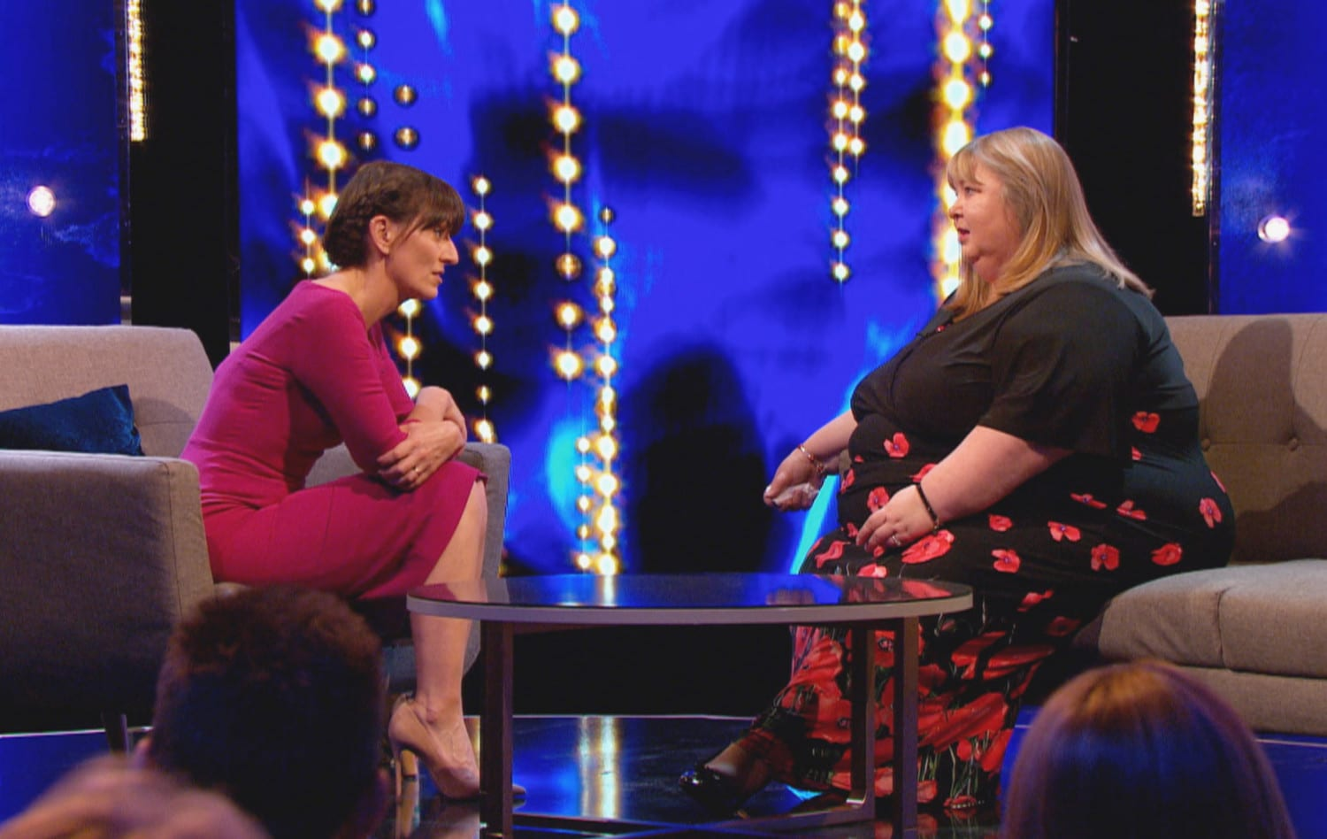 Host Davina McCall and contestant Tracey Geddis from Lurgan