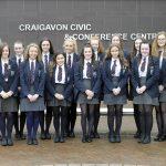 International Women's Day event, Craigavon Civic Centre 5th March 2019, Craigavon Senior High School and their Teacher Carole Dillon. ©Edward Byrne Photography
