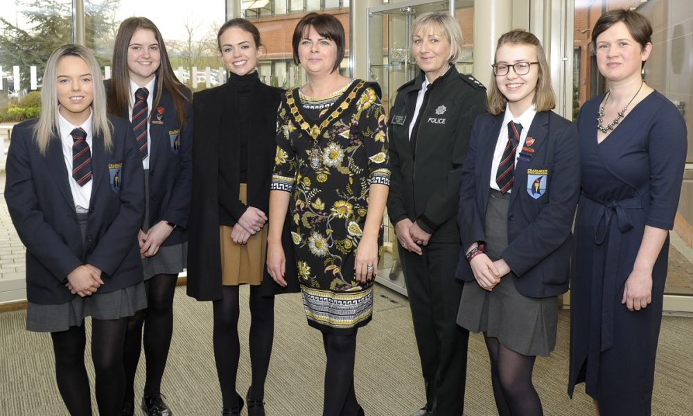 International Women's Day event, Craigavon Civic Centre 5th March 2019. Pictured from are Keeva Murtagh (The Prince's Trust), Lord Mayor Cllr Julie Flaherty, Inspector Rosemary Leech MBE (Road Policing Development) and Alison Matthews (owner of VirtuAli Administrative Solutions) with Craigavon Senior High students Courtney Livingstone, Rachel McKerr and Tirzah Walker. ©Edward Byrne Photography