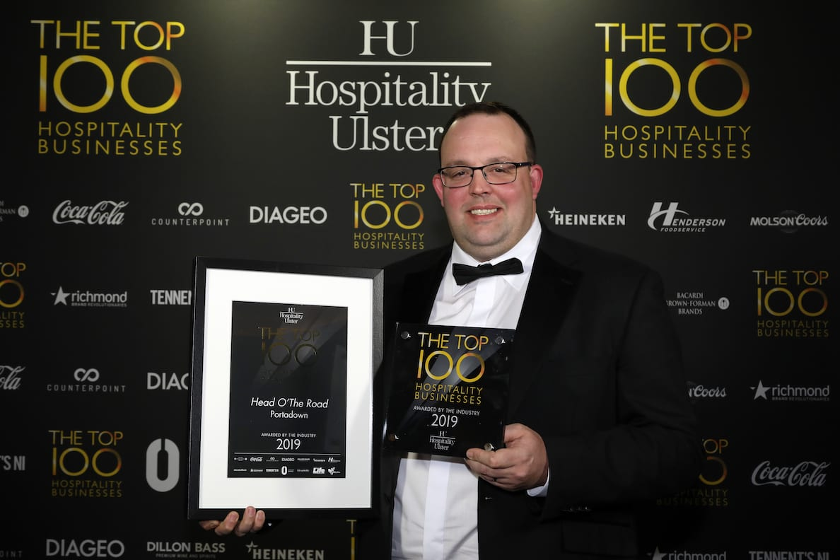 Wednesday 27th February 2019, Titanic Belfast: Pictured: John Lawson, Head O'The Road, Portadown at Hospitality Ulster's Top 100 Hospitality Business Awards at Titanic Belfast. Northern Ireland's Top 100 Hospitality Businesses 2019 were revealed in a star-studded ceremony on Wednesday 27th February. This year's coveted list was decided by a panel of independent judges, headed up by food critic, Joris Minne. The prestigious ceremony was hosted by acclaimed stand-up comedian Colm O'Regan and attended by a number of VIP gusts including former Ireland rugby captain, Brian O'Driscoll and sports pundit, Adrian Logan. From Michelin starred restaurants and five-star hotels to buzzing city centre nightclubs, gastropubs, quaint country pubs, restaurants and hotels, Hospitality Ulster's Top 100 shines the spotlight on Northern Ireland hospitality at its best. The full Hospitality Ulster Top 100 can be viewed online at www.Top100NI.com. Picture by Kelvin Boyes/Darren Kidd, Press Eye.