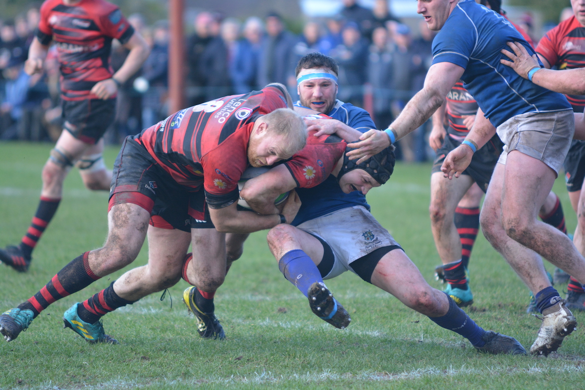 Neil faloon Pods with James Morton in an effort to break the St. Mary's defence in the second half