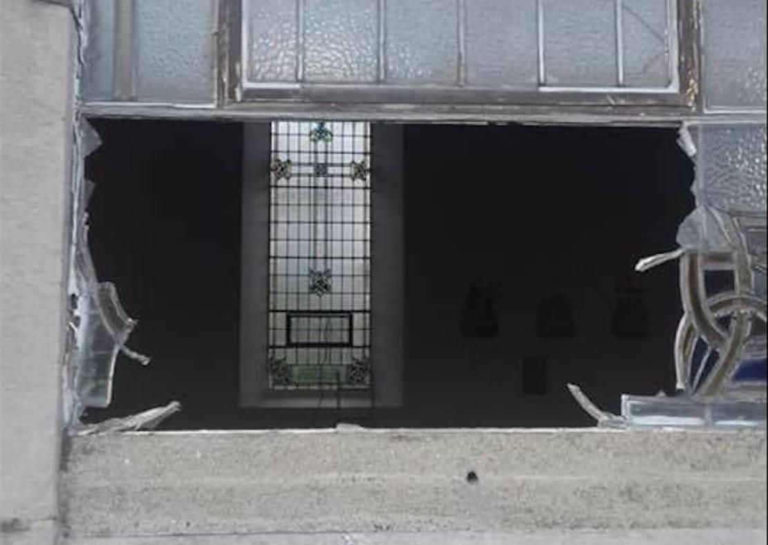 Glass window smashed church