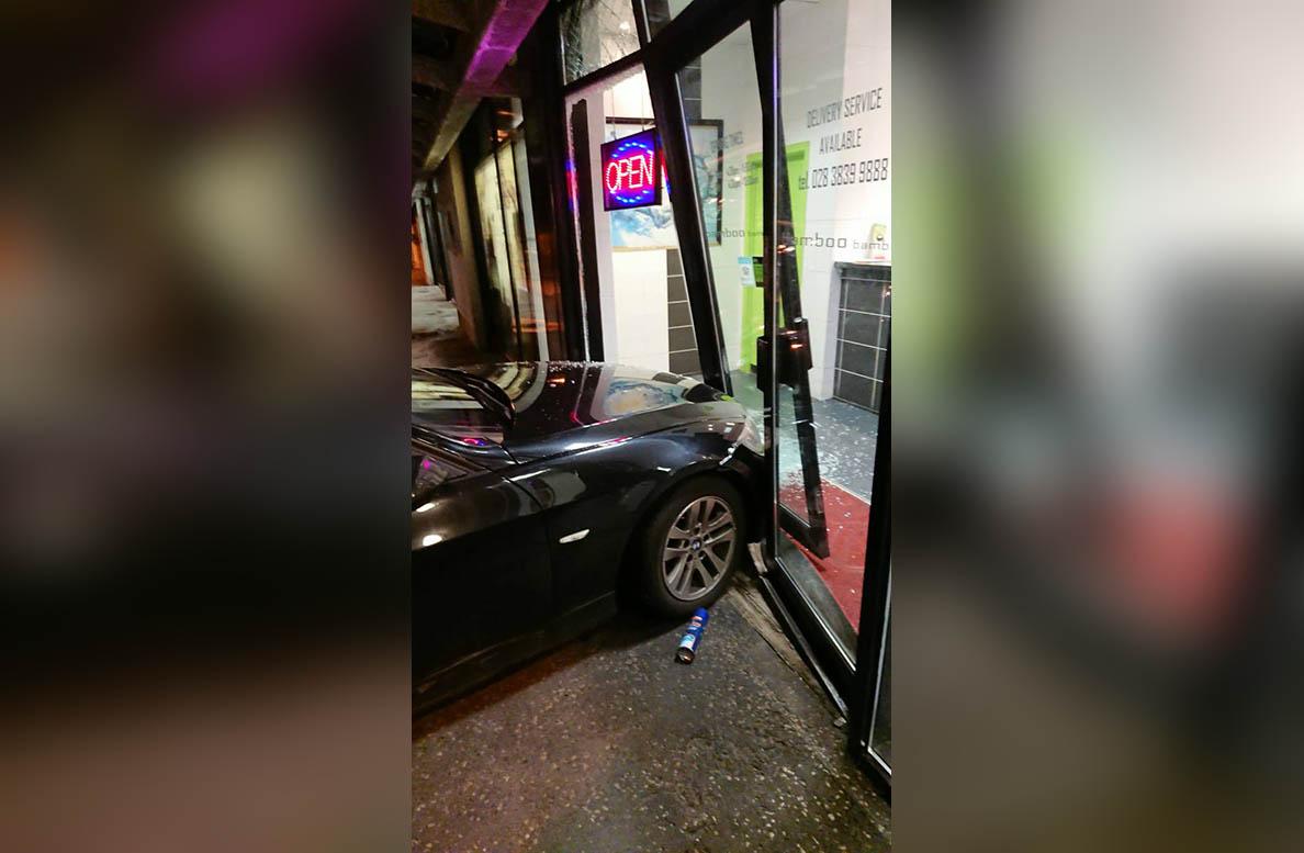 Smashed window Chinese takeaway Craigavon