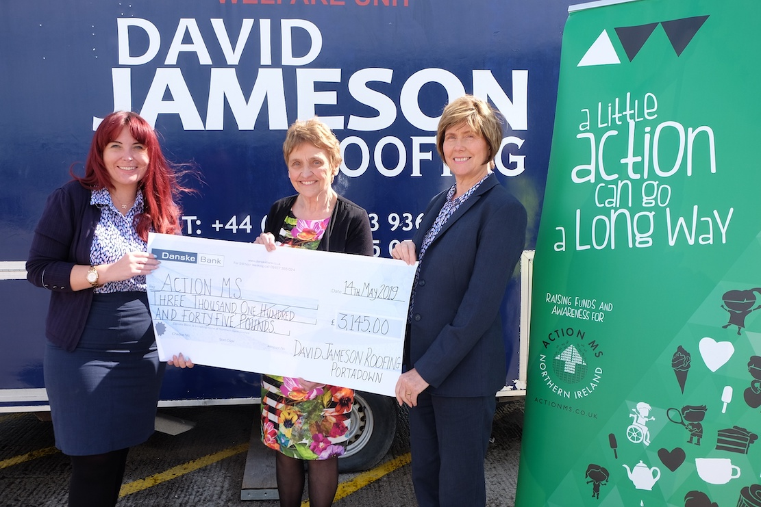 Portadown based construction firm David Jameson present a cheque to ActionMS