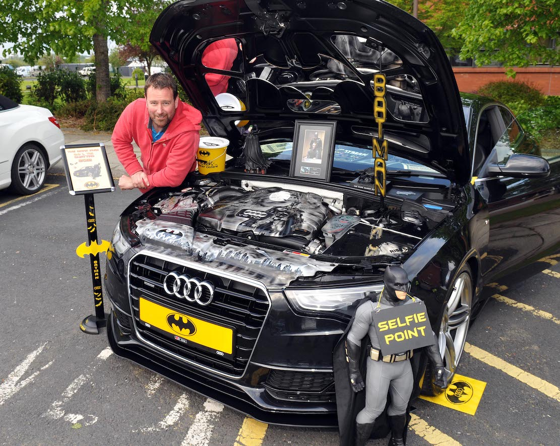 """Dave Pearce from Poradown with his 2012 Audi A5, 3litre TDI, which is called 'The Dark Knight"""". A very well prepared and presented car with very special engine bay paintwork."""