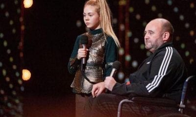 Jesse Jane McParland alongside her father Gary at World's Got Talent in China