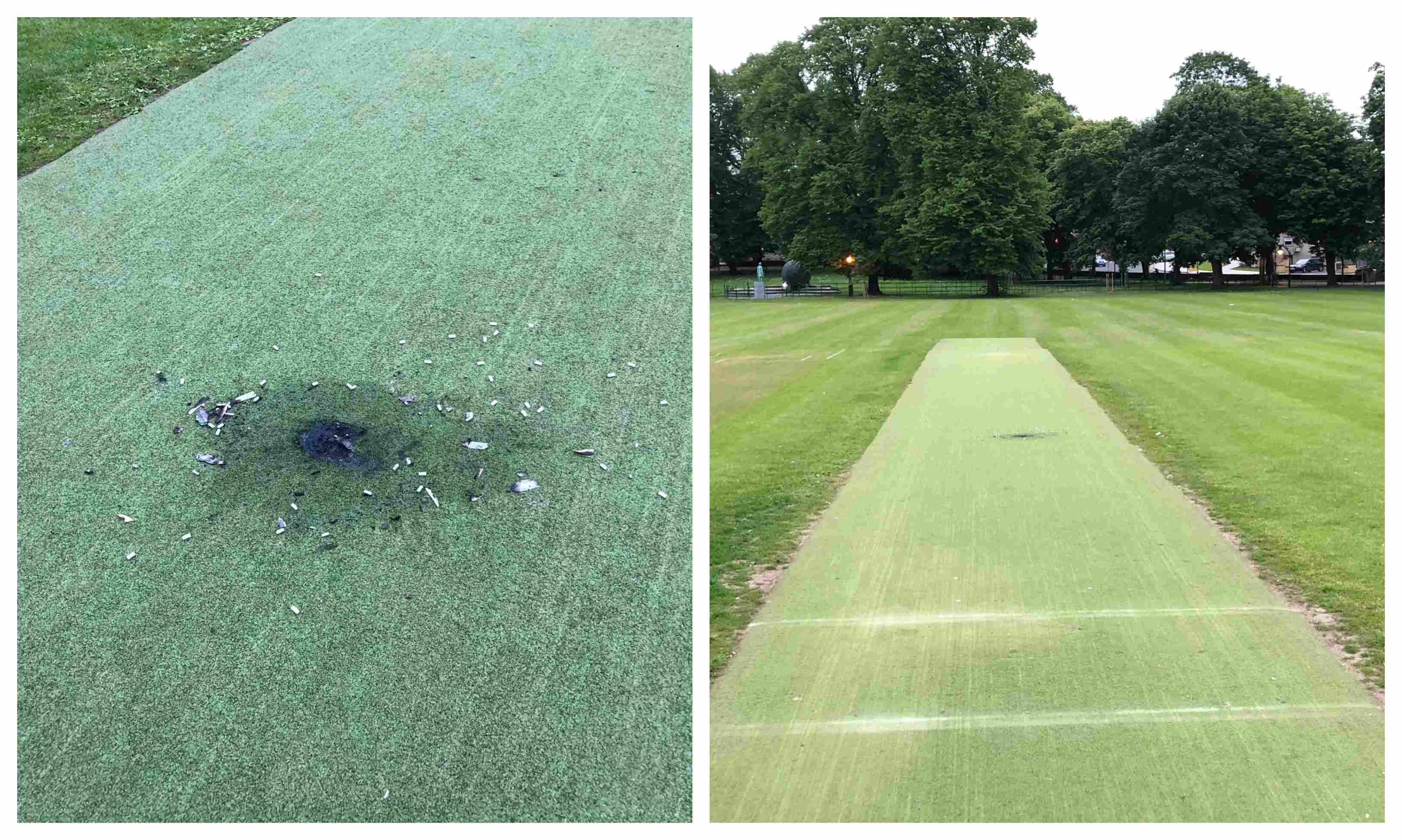 Armagh Cricket Club damaged wicket