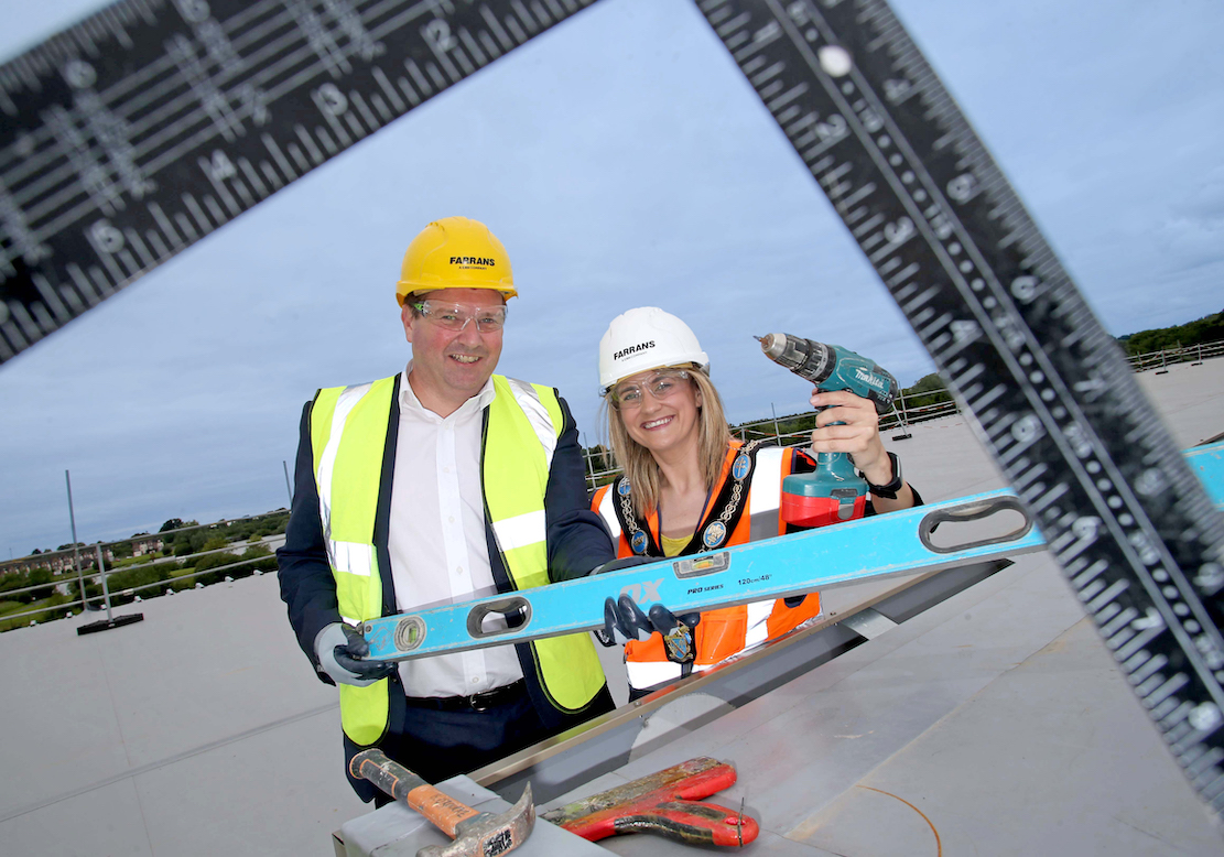 Topping out of the South Lake Leisure Centre in Craigavon
