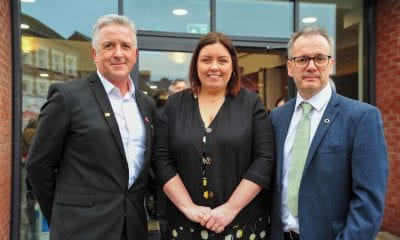 Pictured at the official opening of Aonach Mhacha, the new Irish language centre in Armagh, is Communities Minister Deirdre Hargey with Gearóid Ó Machail, Director of Aonach Mhacha and Réamonn Ó Ciaráin, Chairman of Aonach Mhacha