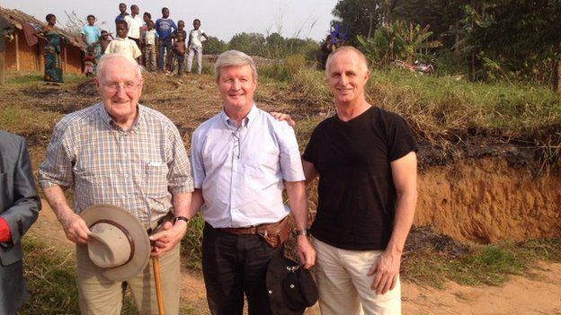 Bob McAllister and his sons Bill and David in the Congo