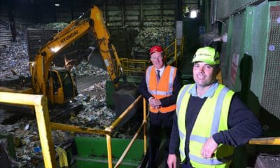 Finance Minister Conor Murphy with Re-Gen Waste's MD Joseph Doherty on a visit to their waste recovery facility in Newry, to see their sorting processes first-hand and hear how they've adapted their working practices throughout the COVID-19 pandemic.
