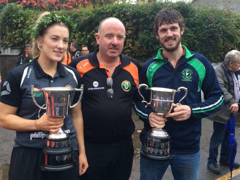 Queen and King of the Road 2017 Champions Kelly Mallon and Tomas Mackle with Chris Mallon
