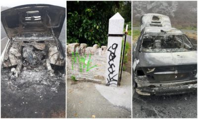 Slieve Gullion burnt car graffiti
