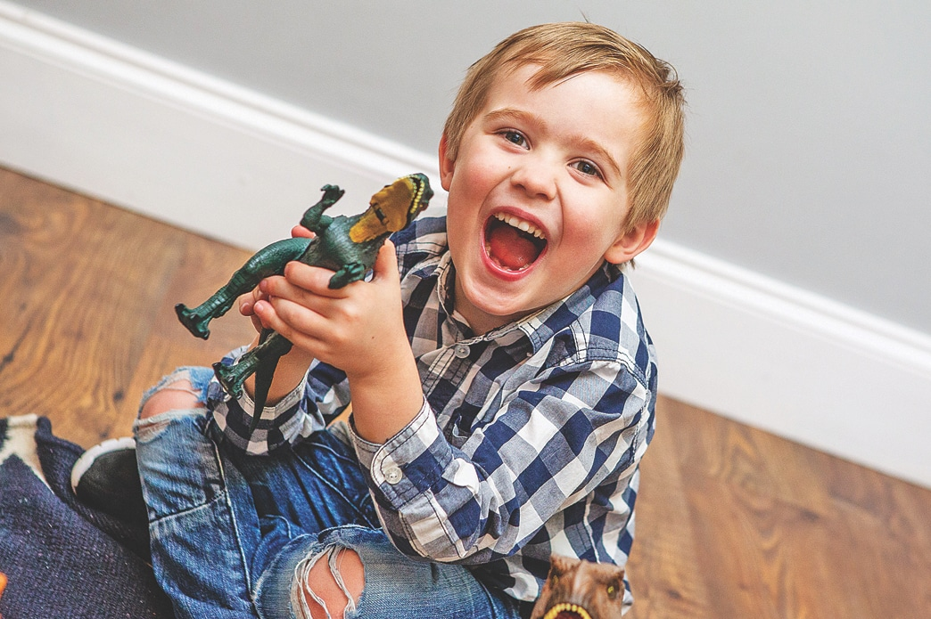 Cillian Rogers with dinosaur