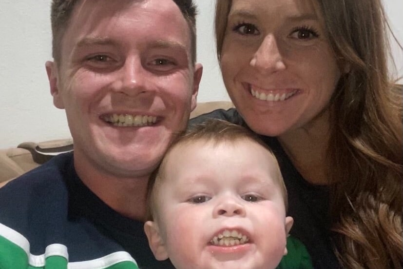 Sean Hughes with wife Emily and son Sean (2)