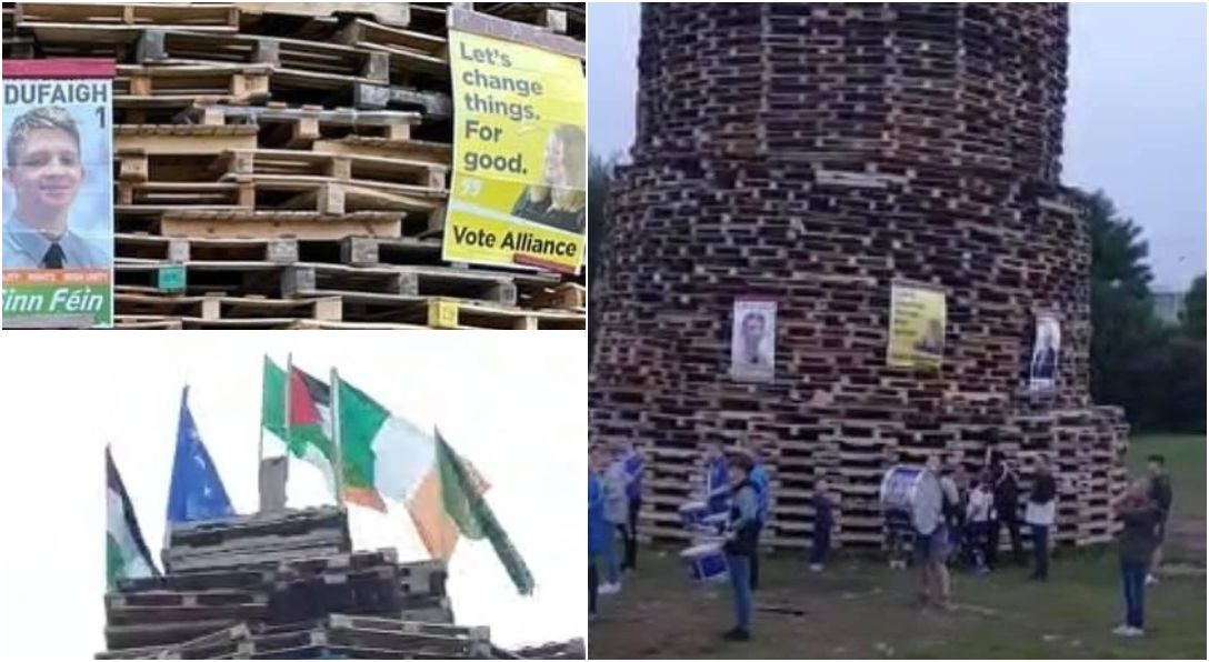 Portadown bonfire election posters