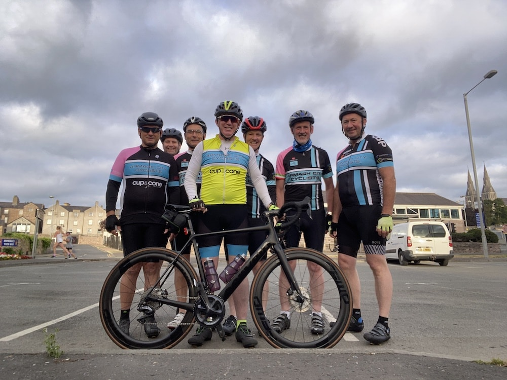 Armagh city cyclists. L-r: Pete Gildea, Gerard Enright, Tom McShane Paddy McShane, Paddy Toner and Eugene Quinn, Paddy Hughes (Conor Scully missing)